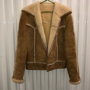 GOLD SUEDE & SHEARLING LINED & TRIMMED JKT